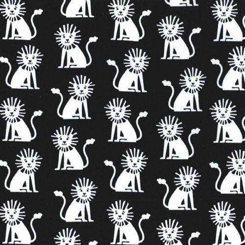 Michael Miller - Mini Lions (Black) Fabric